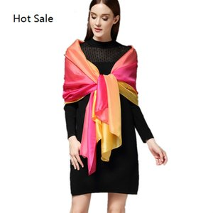 New Summer Silk Scarves For Women Gradient Silk Scarf Shawls And Wraps Femme Fashion Hijab Stoles