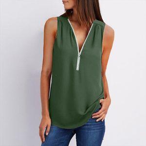New Summer Chiffon Blouse Women Tops Clothing Vest Solid Sleeveless V Neck Loose Chiffon Shirt Zipper Women Tops Plus Size 3XL