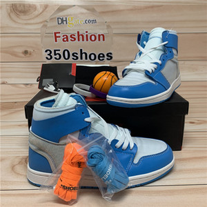 С коробкой Высокий 1 1S OG Баскетбольные Обувь Jumpman X Белый UNC Сила Синий Чикаго Белый Белый Белый Кроссовки Мужская Женская Обувь Спортивные тренажеры