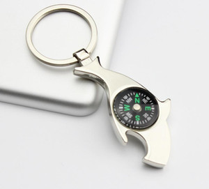 Metal Beer Kitchen Tool Keychain Creative Dolphin With Compass Bottle Opener Practical Purse Bag Buckle Key Ring SN3529