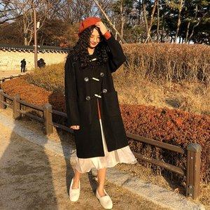 2 colors winter korean style single breasted wool coat pocket medium-long woolen jackets womens (X146)1