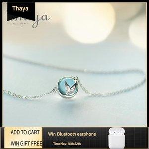 Thaya Mermaid Köpük Kabarcık Tasarım Kristal Kolye S925 Gümüş Mermaid Kuyruk Mavi Kolye Kolye Kadınlar için Zarif Takı Hediye Q1120