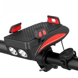 Bike Light Mobile Phone Bracket Riding Front Light Speaker LED USB 4 In 1 Multi-function Riding Accessories