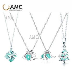 TF Moda Klasik Gümüş Hediye Kutusu Noel Ağacı Aşk Xingyue Kolye Lady Noel Hediyesi Takı Toptan