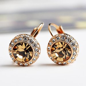 High Quality Yellow Pink Blue Color Clip Earring Jewelry Luxury SWA Crystal Gold Color Drop Earrings For Women(DJ1061)