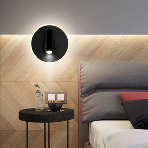 10W LED Wall Sconce Reading Light Fixture Ambient Circle Lamp Rotatable Bedside Spotlight DualSwitch White Black shell
