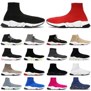 luxury 2021 sapatos de meia masculino, feminino speed trainers tênis cano alto triplo preto branco vermelho transparente sola amarela Fluo tênis masculino casual Jogging Walking