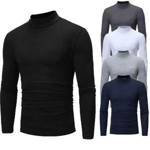 Совершенно новые готические мужчины Turtelneck свитер пуловер с длинным рукавом стрейч тонкий базовый свитер Turtleneck мужская блузка весенняя одежда1