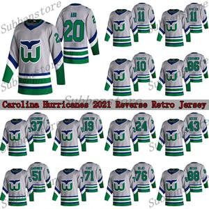 Carolina Hurricanes Jersey 2021 Ters Retro 20 Sebastian Aho 11 STAAL 10 Francis Hartford Whalers Hokey Formaları