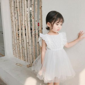Elegant Lace White Tulle Flower Girl Ruffled Sleeveless Princess Dress for Party Wedding High Low Beach Dress Baby Clothes