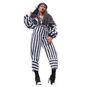 Stripe Printed Womens Fashion Tracksuits Cardigan Vneck Two Piece Set Casual Piles Sleeves Designer Womens Clothes