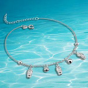 Dankadi Vintage Strand Fuß Fußkettchen Für Frauen Sterling Silber Weibliche Fußklets Sommer Armband auf dem Bein Schmuck F1219