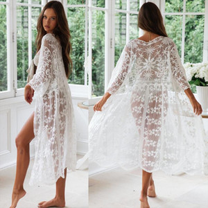 Womens Bikini Summer Beach Blouses Kimono Cardigan Lace Sheer Cover Up Long Shirts Sundress Cardigan