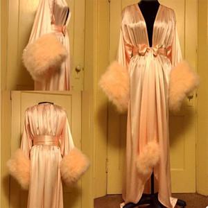 Роскошные порывы перьев свадебные ночные рубашки с поясом с длинными рукавами Халава халат шаль пижама Шелковый атласная вечеринка носить нижнее белье