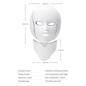 Professional Facial Mask 7 Colors LED Light Therapy Mask with Neck   PDT LED Light Therapy Spa Use Facial Whitening LED with Neck