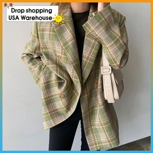 2021 Autumn New Plaid Suit Jacket Women's Korean-Style Loose Retro Casual British-Style Suit Fashion Ladies Blazer