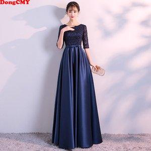 DongCMY Nuovo lunghi abiti da sera convenzionali eleganti del partito delle donne del raso del merletto Navy Blue Vestidos abito 201119