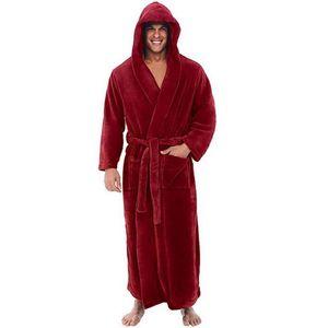 New Men Sleepwear Home Nightwear Men Shawl Collar Coral-Fleece Solid Color Long Bath Robe Home Gown Sleepwear Male Casual Mens