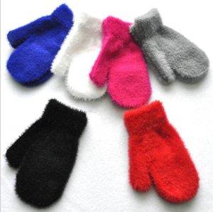Fuzzy Warme Baby Kinder Coral Fleece Handschuhe Kinder Jungen Mädchen Handschuhe Unisex Strickwärmer Weiche Handschuhe Süßigkeiten Farbe Mitte