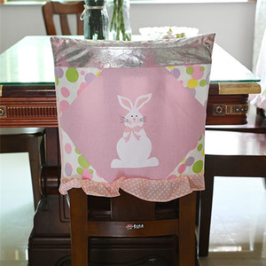 Easter Chair Covers 48*48cm Cloth Bunny Pink Blue Kitchen Chair Cover Happy Easter Party Home Chair Decoration ZZC3556