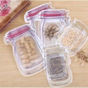 Bulk Mason Jar Shaped Food Container Reusable Eco Friendly Snacks Bag Plastic Storage Bags Smell Proof Clip OWC3656