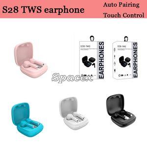 Mini Quality S28 TWS Wireless Bluetooth Auriculares Control táctil Auriculares Automóviles Universal Auriculares Auriculares Caja de carga Earbudos impermeables