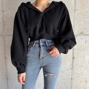 Casual Solid Pullovers Black Cropped Women's Hoodies 2021 Autumn Winter Harajuku Long Sleeve Female Sweatshirt Gothic Jacket Top