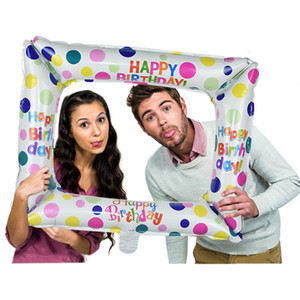 1 pz Birthday Photo Booth Stail Balloons Buon compleanno Balloon Berlina Photo Frame Globos Photo Pops Decorazioni feste di compleanno