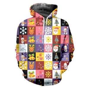 3D Printed Christmas Grid Stitching Sweatshirts Plus Size Men Women's Funny Hoodies Cartoon Xmas Party Pullover