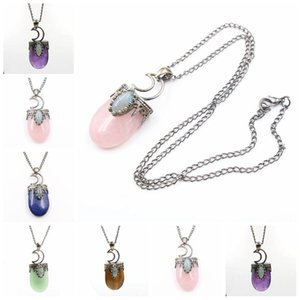 2020 Moon Natural Stone Necklace Gem Charm Jewelry Silver Plated Women Men Stone Pendant Hollow Crown Statement Necklace Jewelry