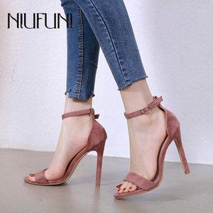 Niufuni 2021 camurça rodada dedo do pé fivela mulheres sólidas sandálias de cor stiletto saltos altos 12cm sapatos romanos para as mulheres tamanho 35-401