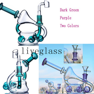 Mini Cute thick glass water bongs online for sale beaker base smoking hookahs shisha dab rig double dome percolator recycler with 14mm male