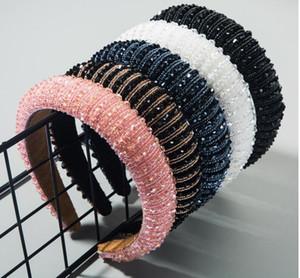 100 pcs  lot Full Crystal Hair Bands For Women Lady Luxury Shiny Padded Diamond Headband Hair Hoop Fashion headband