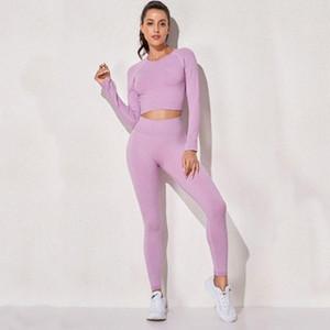 요가 복장 원활한 여성 3pcs 세트 피트니스 의류 스포츠 옷 높은 허리 레깅스 체육관 패딩 브래지어 셔츠 정장