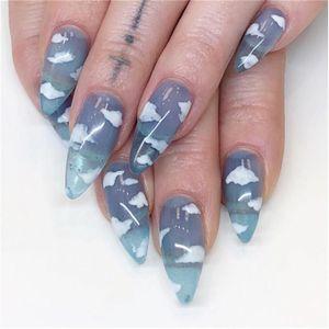 24Pcs Stiletto Shape Fake Nails Sky Blue Beach Cloud Flame Nails Ladies Press On Designed False Nails Tips Overhead with glue