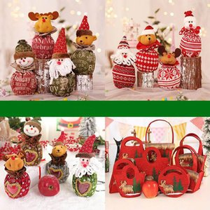 2020 New Hot Selling 15*25cm Christmas Gift Bag Christmas Decoration Candy Apple Storage Bag Snowman Elk Santa Claus for Children
