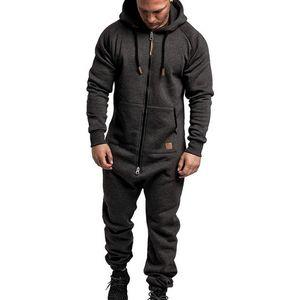 Men Solid Splicing Jumpsuit Streetwear Casual Male Zipper Hoodies Overalls Men's One-piece Playsuit Jumpsuits Hooded Sweatshirts