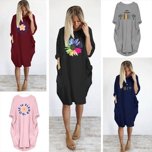 Plus Size Women Dress Sunflower Print Cute Flowers Pocket Casual Loose Vintage Party M 5XL Clothes Womans Dresses 2020 Black
