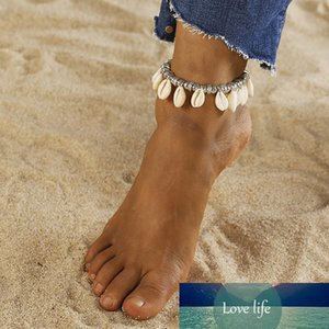 Vintage Leather Ankle Bracelets Natural Shell Cowrie Beach Sandal Anklet for Women Charming Jewelry Chain Anklets Shellhard