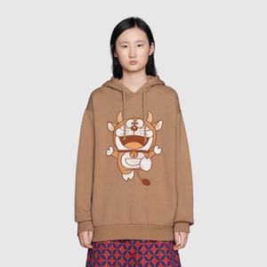 Vaca año limitado europa italia otoño invierno casual moda japón dibujos animados bordado con capucha suelta hombres mujeres algodón con capucha sudadera