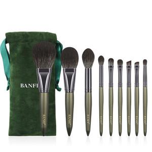 Nova 9-peça de escova da composição Titanium Cristal fibra fita Armazenamento escova Saco, de alta qualidade Full Set de maquiagem beleza Tools