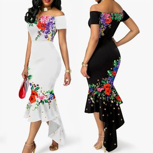 2020 Summer Womens Off Shoulder Floral Elegant Dresses Evening Party Wedding Formal Dresses Ruffles Fishtail Ladies Dress