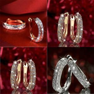 Orecchini placcati dorati strass cristallo moda lucido ladys anelli gioielli giorno San Valentino giorno bella europa america vendita calda 2 2JH m2