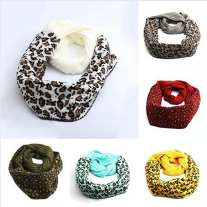 New Fashion Leopard Printed Knitted Scarf 9 Colors Winter Warm Scarves Woman Outdoor Soft Knitted Neck Scarves DDA610