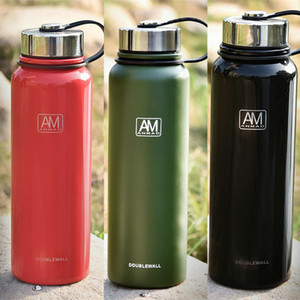 Portable Stainless Steel Water Bottles Double Vacuum Insulated Mug Cup Outdoor Hiking Climbing Kettle Water Bottle can Custom WX9-235