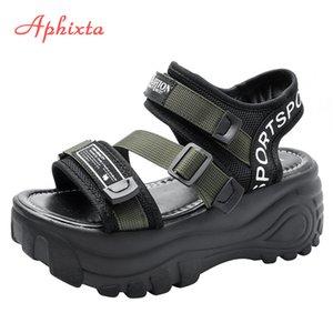 Aphixta 6cm épais plate-forme plate-forme sandales cristaux de diamant hauteur augmente chaussures femmes toile sandale sandale q1217