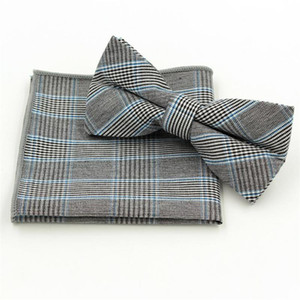 plaid Handkerchief set BowTie bowknot England style cotton Jacquard Woven Men Butterfly Bow Tie Pocket Square Suit