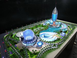 Sand table model of Dubai Planetarium, UAE.A model with dazzling lighting,Make the model technologically meaningful