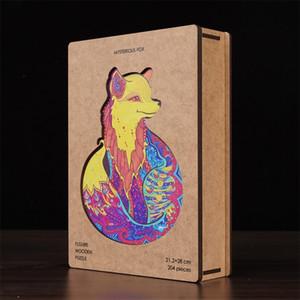 Puzzle di animali in legno per adulti Bambini FAI DA TE Puzzle animale Ogni pezzo è Jigsaw in legno a forma di animale con scatola di legno regalo di Natale 201218