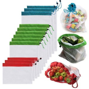 Reusable Drawstring Mesh Vegetable Fruit Bag Home Kitchen Storage Bag Polyester Washable Organizer Bags Shopping Sundries Pouch VT0359